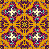 Abstract ethnic seamless pattern ornamental. Damask vector festive yellow abstract seamless pattern Stock Photography