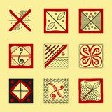 Abstract ethnic symbols. For tribal background. Mezen painting. Vector illustration. eps10 Stock Image