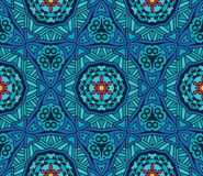 Abstract ethnic tiled seamless  pattern. Blue  geometric kaleidoscopic seamless pattern ethnic tribal background Stock Image