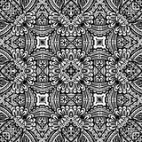 Abstract ethnic tribal Seamless pattern. Seamless pattern abstract geometric ornament. Indian, Asian, Ethnic,  doodle. Black and white background.  Tribal design Stock Photo