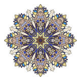 Abstract etnisch gekleurd mandala sierpatroon De unieke oosterse elementen van het stijlhand getrokken ontwerp Stock Fotografie
