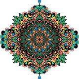Abstract etnisch ornament Aziatisch patroon Kleurrijke authentieke achtergrond Vector illustratie Mandala Print Royalty-vrije Stock Afbeeldingen