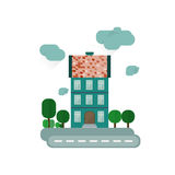 Abstract european house. Street with trees. Stock Photo