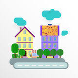 Abstract european house. Street with trees. Stock Photography
