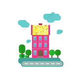 Abstract european house. Street with trees. Stock Images