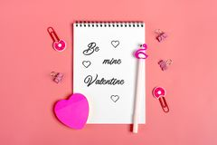Abstract ewhite sheets for note, paper clips, pen - flamingo, home flower sukulent, sticker - heart, angel figurine,. royalty free stock photo
