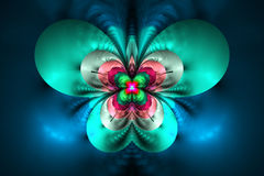 Abstract exotic flower on black background. Symmetrical pattern in bright red, blue, pink and green colors. Fantasy fractal design for posters, wallpapers or t Royalty Free Stock Photography