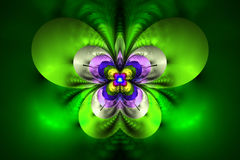 Abstract exotic flower on white background. Symmetrical pattern in bright green, blue, pink and yellow colors. Fantasy fractal design for posters, wallpapers or Royalty Free Stock Photography