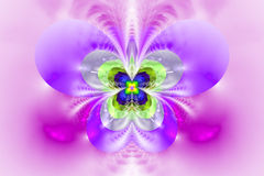 Abstract exotic flower on white background. Symmetrical pattern in bright pink, purple, grey and green colors. Fantasy fractal design for posters, wallpapers or Stock Image