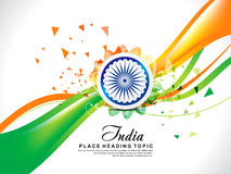Abstract Exploded Indian Republic Day Background With Wave Stock Photography