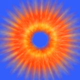 Abstract - Explosion. Orange Explosion with blue background Vector Illustration