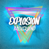 Abstract Explosion Background with Colorful Triangles, Particles Royalty Free Stock Photography