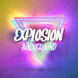 Abstract Explosion Background with Colorful Triangles, Particles Stock Photography