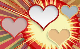Abstract explosion background with hearts. Stock Photography