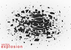 Abstract explosion of black. Geometric banners.Abstract explosion of black glass.Square and circle destruction shapes.3d effect of particles.Vector illustration vector illustration