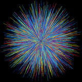 Abstract explosion burst of fireworks light. Abstract colorful explosion of fireworks against a dark background Stock Image