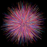 Abstract explosion burst of fireworks light. Abstract colorful explosion of fireworks against a dark background Stock Photo
