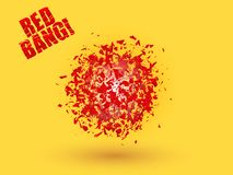 Free Abstract Explosion Cloud Of Red Pieces On Bright Orange Yellow Background. Explosive Destruction. Particles Of Star Burst Stock Photo - 104357050