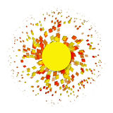 Abstract explosion particle square on a white background. Royalty Free Stock Image