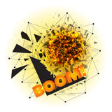 Abstract explosion with sharp debris. Vector illustration of abstract explosion with sharp debris, fireball and scattering pieces of black triangle with BOOM Royalty Free Stock Images