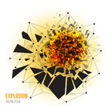 Abstract explosion with sharp debris. Vector illustration of abstract explosion with sharp debris, fireball and scattering pieces of black triangle  on white Stock Photography