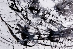 Abstract expressionism pattern. Style of drip painting. Black an Royalty Free Stock Images