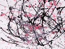 Abstract expressionismepatroon Stijl van druppel het schilderen Zwarte, R Royalty-vrije Stock Foto