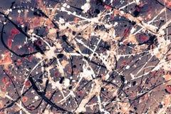 Abstract expressionismepatroon Stijl van druppel het schilderen Zwarte, R Stock Fotografie