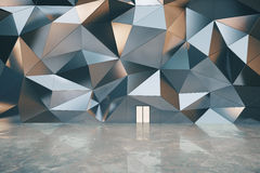 Abstract exterior with 3D graphite wall, concrete wall and white Stock Photos