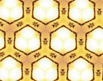 Abstract extruded 3D pattern. White, yellow and black. Extruded background pattern. Abstract hexagon and honeycomb shape Stock Image