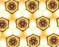 Abstract extruded 3D pattern. White, yellow and black. Extruded background pattern. Abstract hexagon shape Stock Photo
