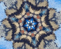 Abstract extruded mandala with blue, brown, white, orange. Small square blocs extruded mandala with abstract 6 sided star shape. Variations of light and dark Stock Photography