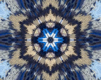 Abstract extruded mandala with blue, brown, white. Small square blocs extruded mandala with abstract 6 sided star shape. Variations of light and dark blue and stock illustration