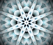 Abstract extruded mandala 3D illustration. Black, white and turquoise. Extruded mandala. 3D illustration. Abstract shapes. Eight sided star Stock Images
