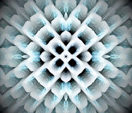 Abstract extruded mandala 3D illustration. Black, white and turquoise. Extruded mandala. 3D illustration. Abstract shapes. Four sided star Stock Photography