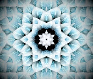Abstract extruded mandala 3D illustration. Black, white and turquoise. Extruded mandala. 3D illustration. Abstract shapes. Six sided star Royalty Free Stock Image
