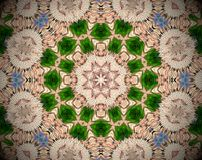 Abstract extruded mandala 3D illustration. Blue. Green and beige. white. Brown and Orange. Extruded mandala. 3D illustration. Abstract shapes. Eight sided star Stock Image