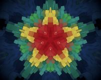 Abstract extruded mandala 3D illustration. Blue, white and green. Red and yellow. Extruded mandala. Abstract five sided star shape stock illustration