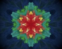 Abstract extruded mandala 3D illustration. Blue, white and green. Red and yellow. Extruded mandala. Abstract six sided star shape stock illustration
