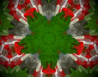 Abstract extruded mandala 3D illustration. Green and red. White, brown and black. Extruded mandala. 3D illustration. Abstract shapes. Five sided star Royalty Free Stock Photography