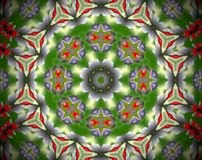 Abstract extruded mandala 3D illustration. Green, red and white. Yellow and gray. Extruded mandala. 3D illustration. Abstract shapes. Three rounded sided star Stock Photo