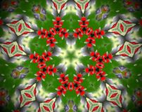 Abstract extruded mandala 3D illustration. Green, red and white. Yellow and gray. Extruded mandala. 3D illustration. Abstract shapes.  Three rounded sided stars Stock Image
