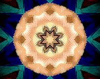 Abstract extruded mandala 3D illustration. Orange and beige. Black and white. Blue and green. Extruded mandala. 3D illustration. Abstract shapes. Eight sided Royalty Free Stock Photo