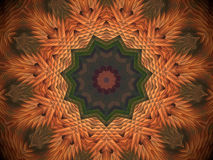Abstract extruded mandala 3D illustration. Orange and brown. Green and red. Extruded mandala. 3D illustration. Abstract shapes. Eleven sided star Royalty Free Stock Photography