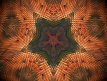Abstract extruded mandala 3D illustration. Orange and brown. Green and red. Extruded mandala. 3D illustration. Abstract shapes. Five sided star Stock Image