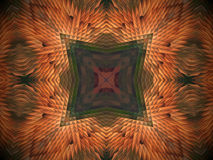 Abstract extruded mandala 3D illustration. Orange and brown. Green and red. Extruded mandala. 3D illustration. Abstract shapes. Four sided star like squares Stock Images