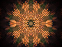 Abstract extruded mandala 3D illustration. Orange and brown. Green and red. Extruded mandala. 3D illustration. Abstract shapes. Ten sided star Royalty Free Stock Photo
