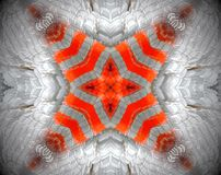 Abstract extruded mandala 3D illustration. Orange, brown and white. Extruded mandala. 3D illustration. Abstract shapes. Four sided star Stock Images