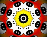 Abstract extruded mandala 3D illustration. Orange and red. Black and white. Extruded mandala. Abstract shapes. Yin yang faces Stock Photos