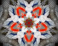 Abstract extruded mandala 3D illustration. Orange and white. Black, blue and brown. Extruded mandala. 3D illustration. Abstract shapes. Five sided star Royalty Free Stock Photography